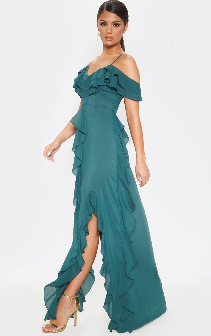 Jasper Green Cold Shoulder Ruffle Detail Maxi Dress Maxi Dress Fashion Clothes Women Dresses [ 1180 x 740 Pixel ]