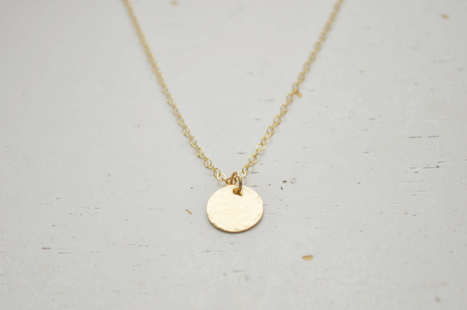 Gold disc coin necklace small hammered gold filled round charm gold disc coin necklace small hammered gold filled round charm circle pendant classic teacher aloadofball Image collections