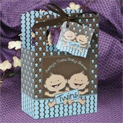 Twin Baby Shower Favor box...Use coupon code: modern11 and save 11%
