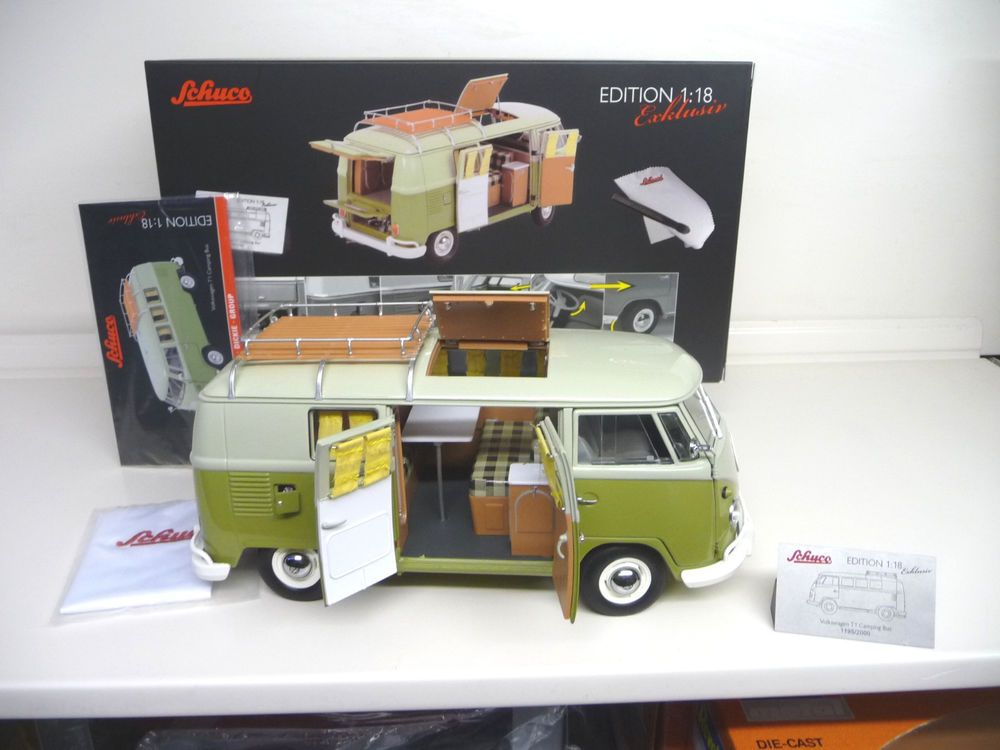 schuco exclusive 1:18 vw t1 camper bus 1963 camping westfalia