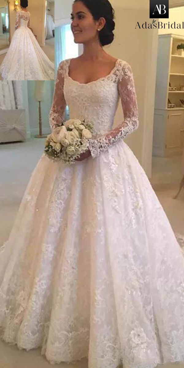 8d271b98337 Attractive Tulle Scoop Neckline A-Line Wedding Dress With Beadings   Lace  Appliques