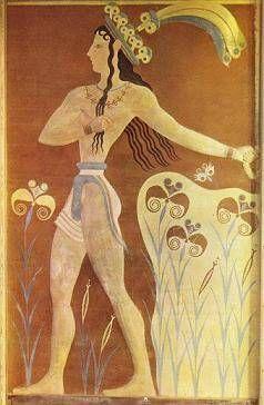 Príncipe de los Lirios. Relieve sobre estuco pintado. Palacio de Cnosos.