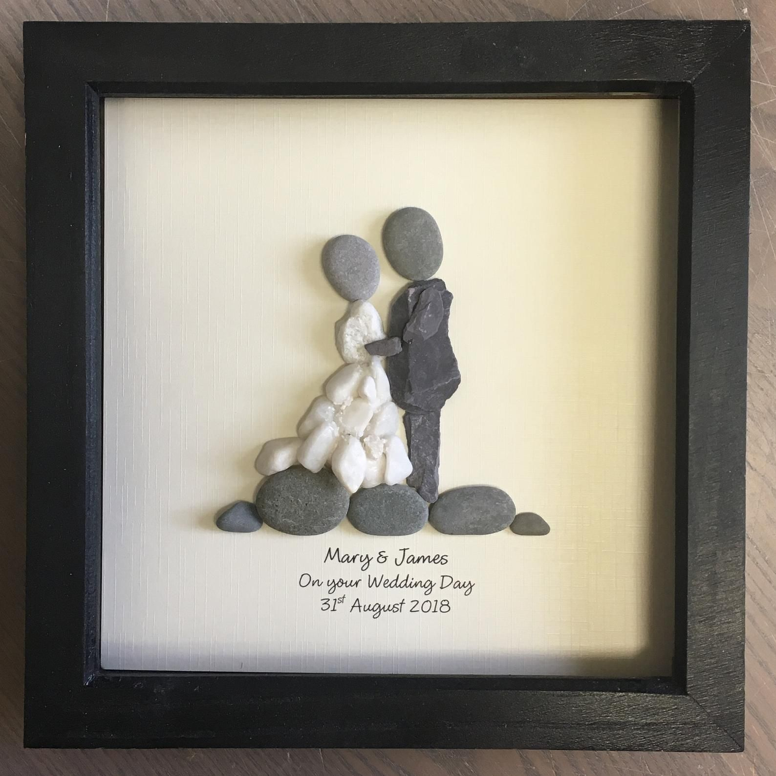 Wedding Gift Pebble Art Personalised Unique Pebble Picture Framed Rustic Home Decor Stone Wall Art Ideal For Beach Wedding Theme 23cm Stone Wall Art Personalised Gifts Unique Pebble Art
