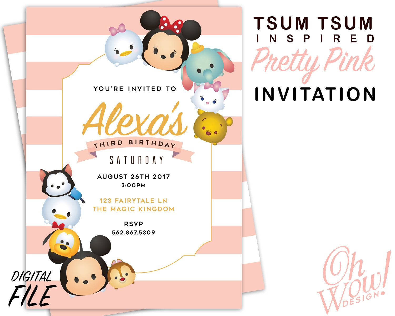 Tsum Tsum Inspired Party Invitation | Party invitations