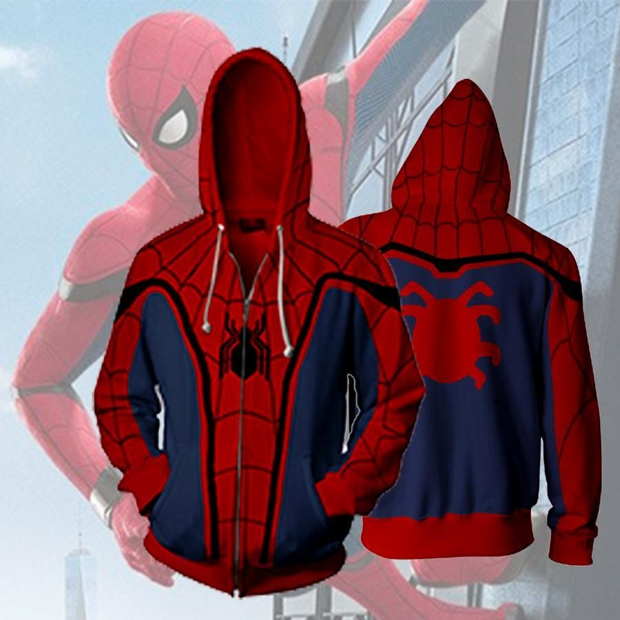 Spiderman d jacket zip up hoodie spiderman d hoodie