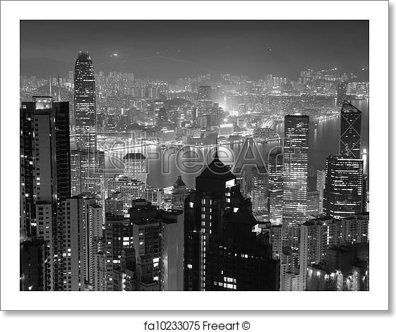 Free art print of hong kong at night in black and white