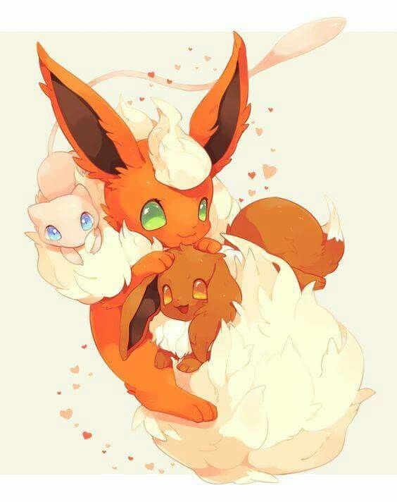 Mew, evee, and flareon