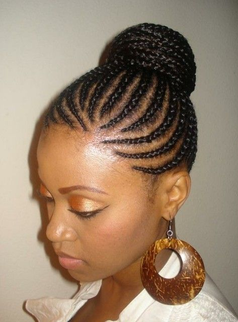 Cornrows Bun Updo For Women Hair Braids For Black Hair Braided