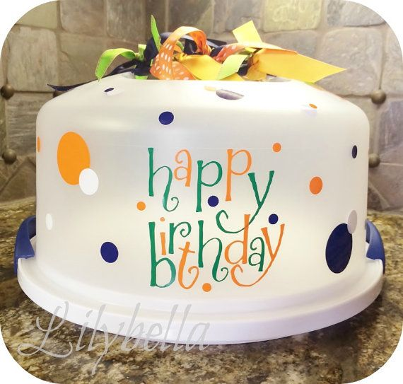 Cake Carrier Target Happy Birthday Cake Carrier Vinyl Set  Choose Your Colors