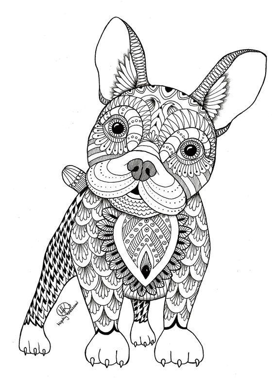 coloriage zen (les animaux) | Chien coloriage, Coloriage ...