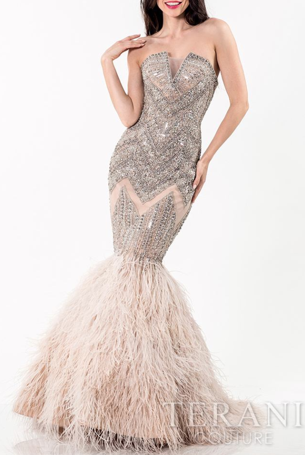 Terani Strapless Jewels and Feathers Evening Gown by Terani | Prom ...
