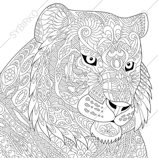 Adult Coloring Page Tiger Zentangle Doodle Coloring Book