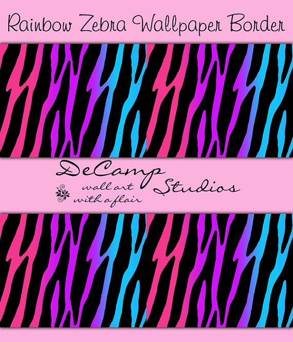 Rainbow Zebra Print wallpaper border wall decals for teen girls bedroom or  children s room decor. ZEBRA PRINT DECAL Sticker Rainbow Wallpaper Border Wall Decor