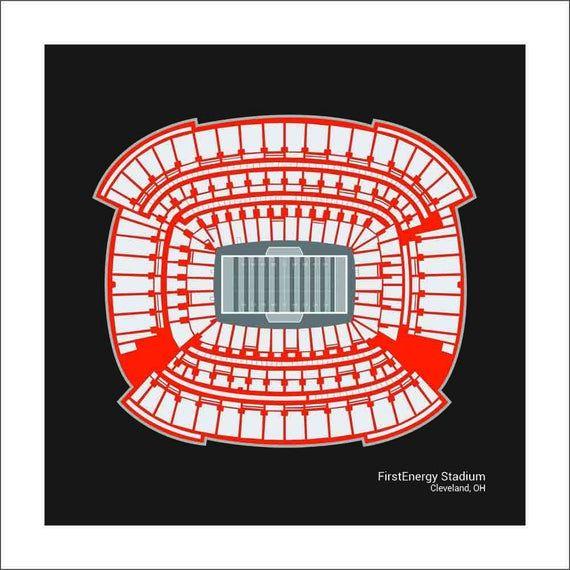 FirstEnergy Stadium Cleveland Browns Stadium Seating Art Print Football Gift SCLEF1616