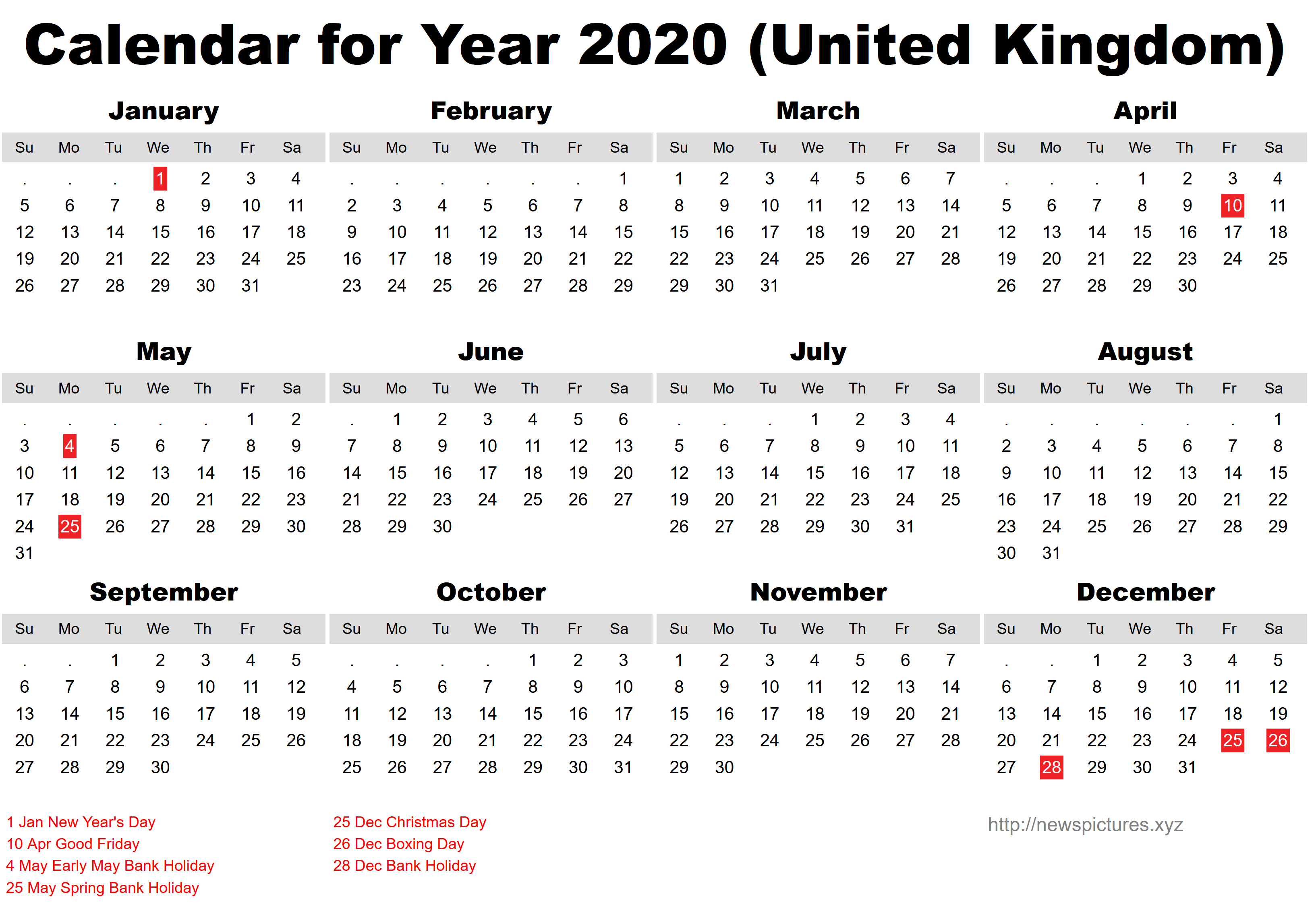 Free Printable Sri Lanka Calendar 2020 with Holidays in
