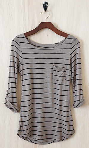 Striped soft long sleeve shirt.