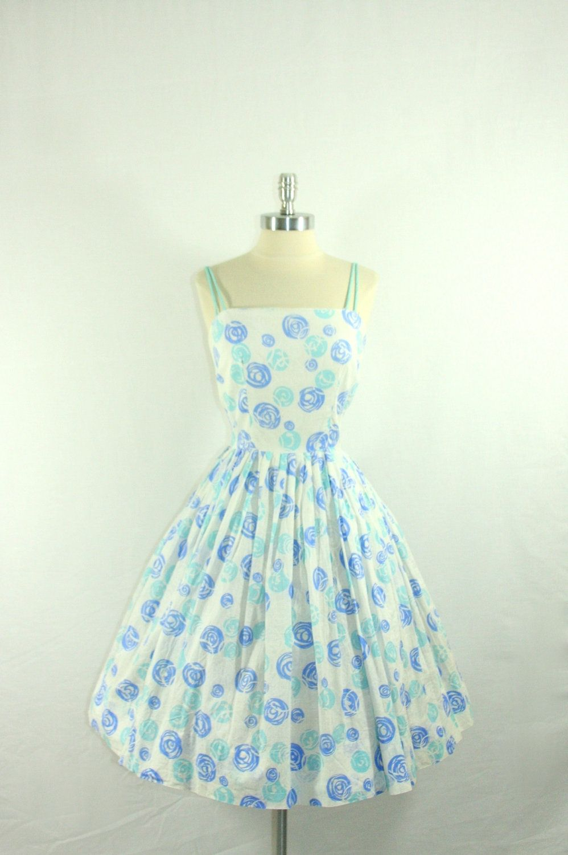 1950s Dress - Atomic Blue Circles Cotton Summer Beach Party Frock ...