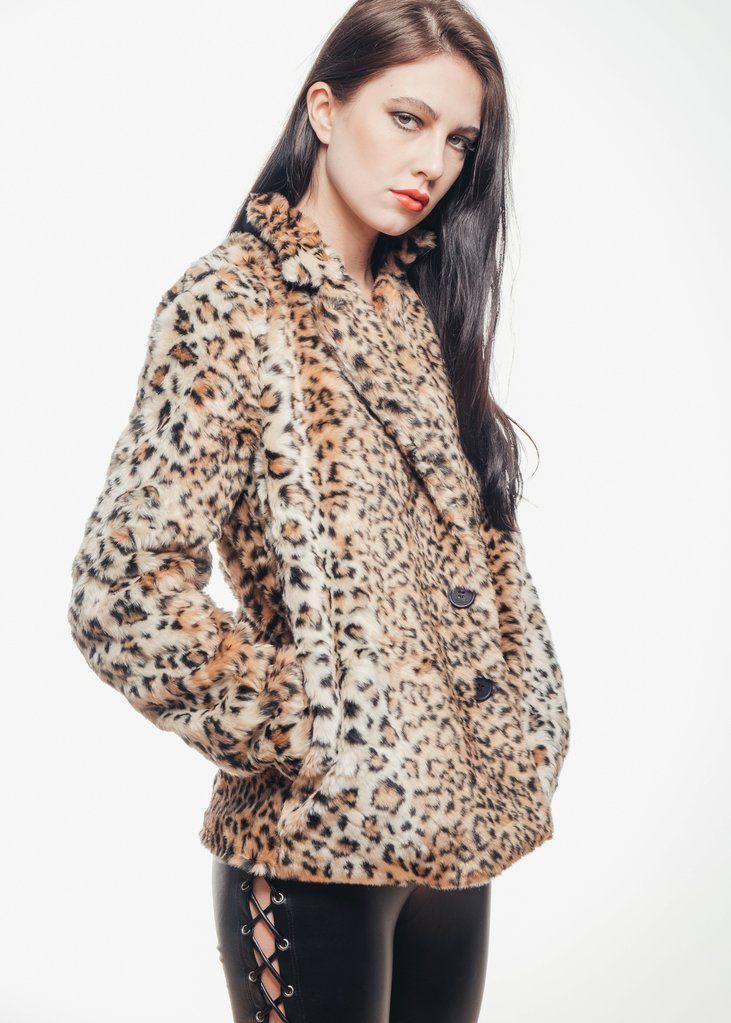 b9e3e48cde04 Wildcat Leopard Faux Fur Jacket   Clothes   Faux fur, Faux fur ...