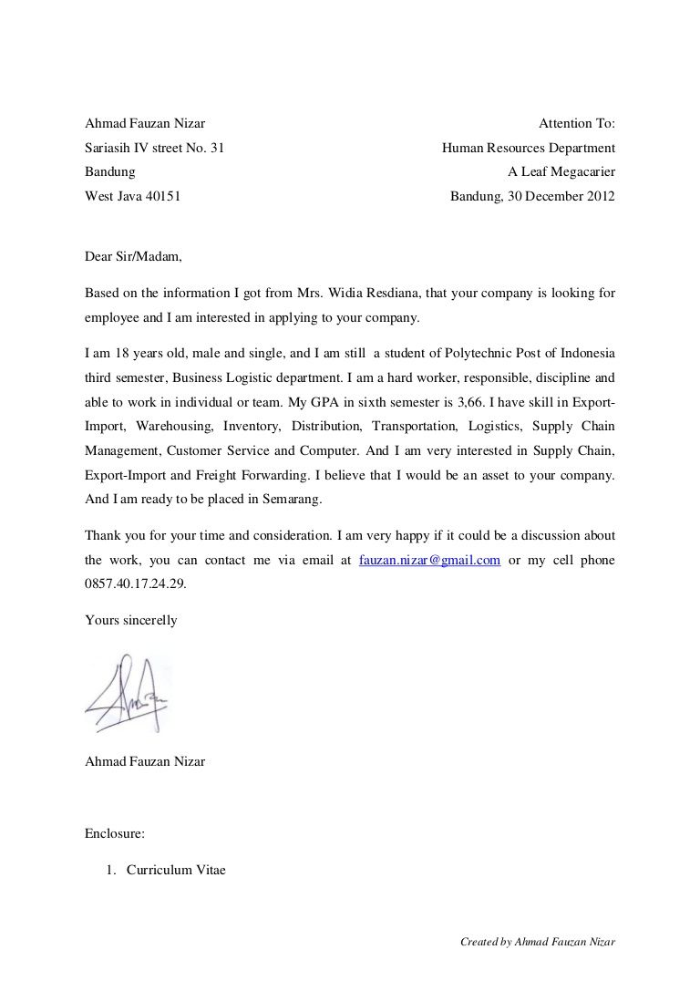Contoh Application Letter Email - How to Format a Cover ...