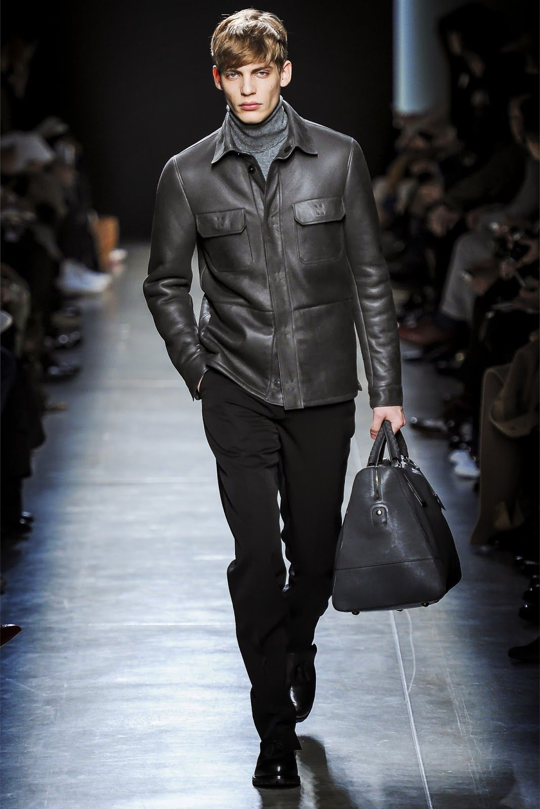 f8e3990484eff Bottega Veneta in Millan FW 2014. Matching leather jacket and leather bag  in black