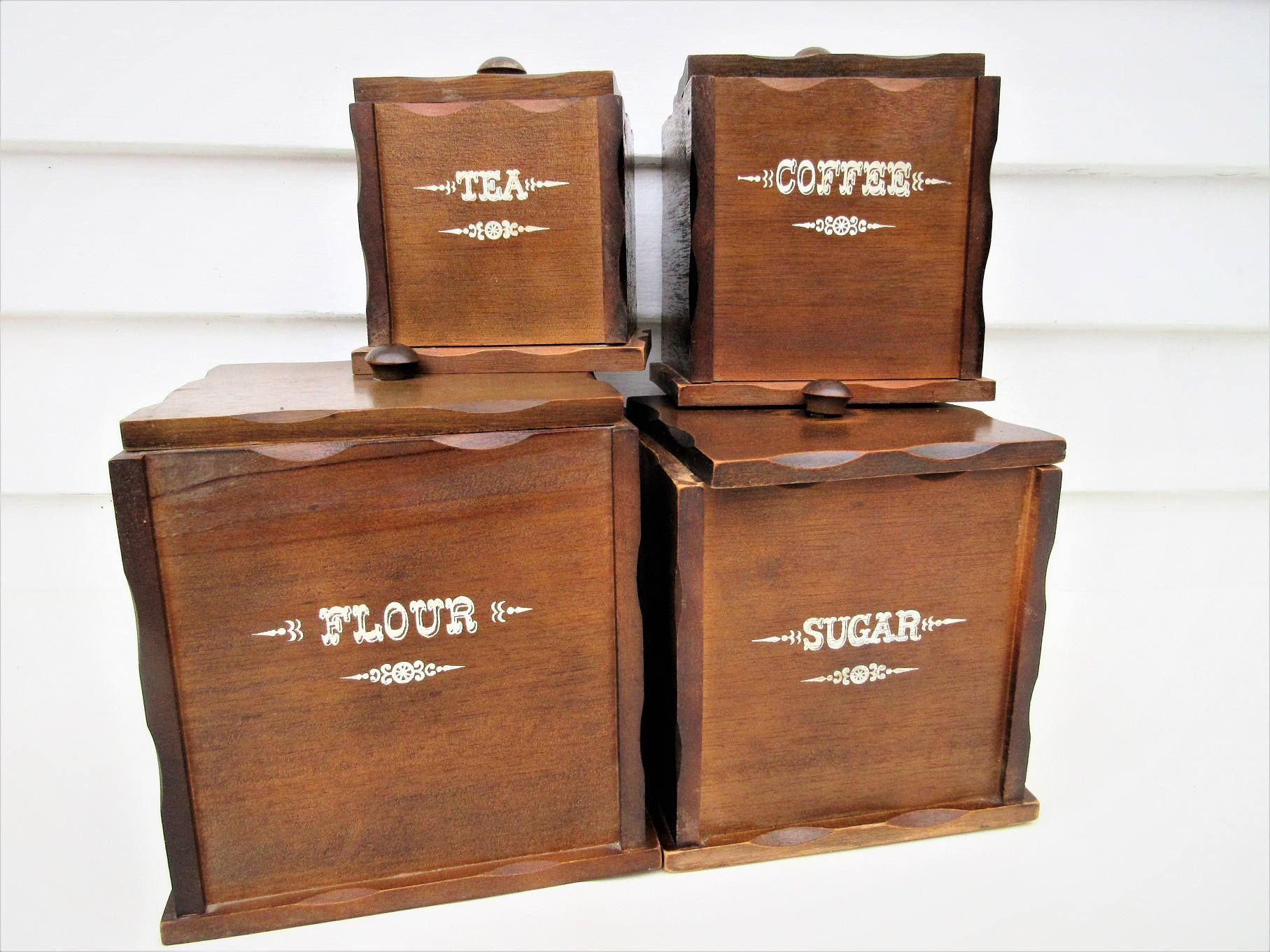 Vintage Wooden Canister Set | Wood Canisters | Kitchen Storage Canisters |  Set Of 4 |