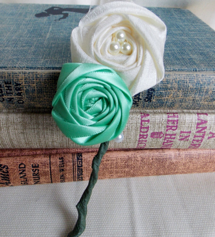 Handmade fabric flower boutonnire belle rose designs pinterest handmade fabric flower boutonnire izmirmasajfo