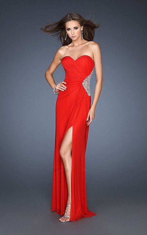 Sexy Red Slit Cut Pleated Sequin Side Prom Dresses | Red Dresses ...