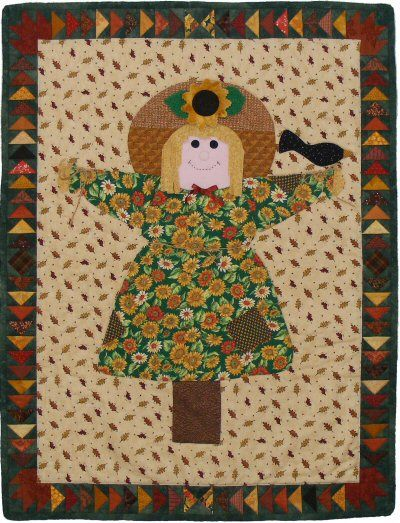 Scarecrow Jane quilt pattern ~ She started as a doll, then I drew a note card of her, and then this quilt! http://www.victorianaquiltdesigns.com/VictorianaQuilters/PatternPage/ScarecrowJane/ScarecrowJane.htm #quilting #scarecrow
