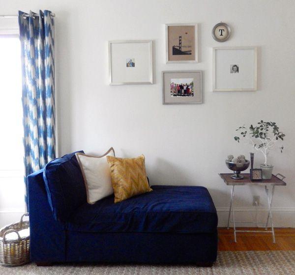 living room blue sofa sectional gallery frames wall west elm rh pinterest com Velvet Ikat Pillow Velvet Ikat Pillow