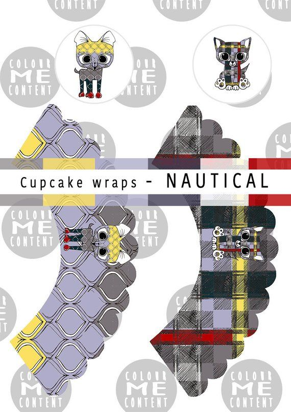 Cupcake wrappers NAUTICAL | Digital Downloads INSTANT ...