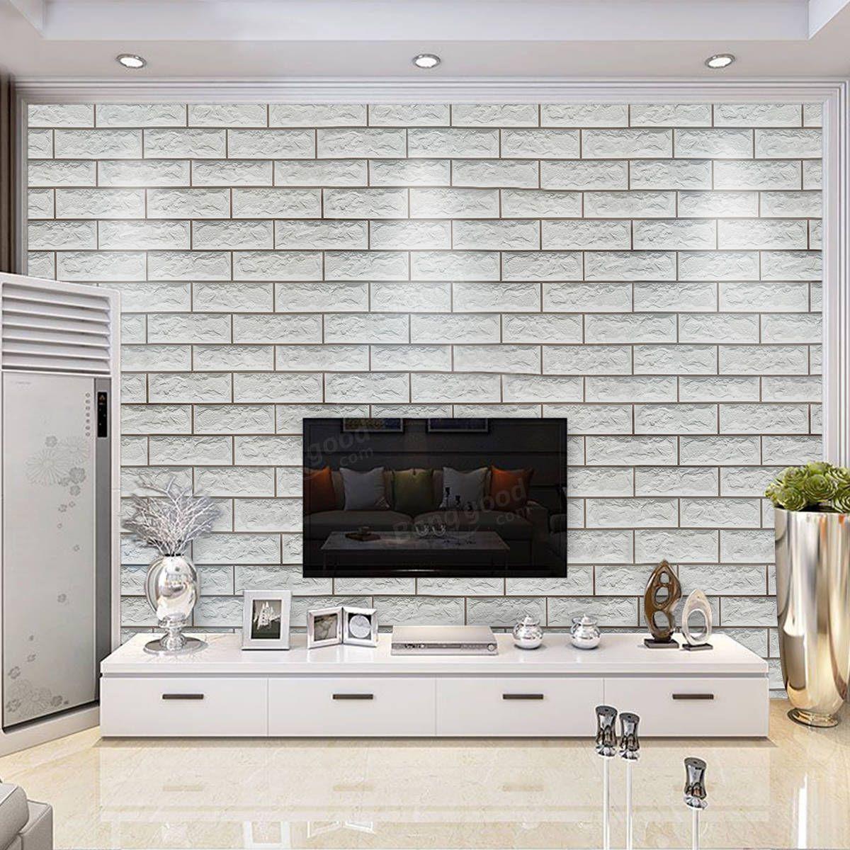 Best 10M 3D Grey Brick Pattern Self Adhesive Wallpaper Home 400 x 300