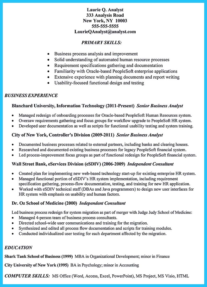 Professional Business Analyst Resume That Is Convincing And