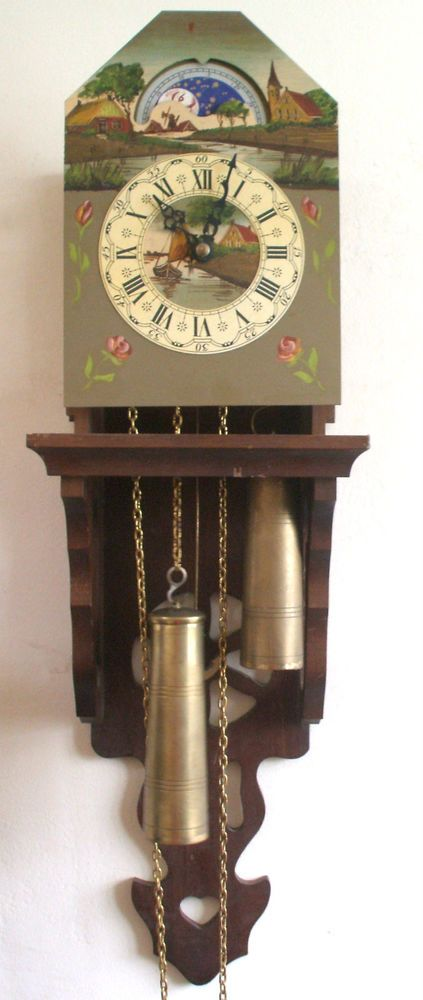 Dutch Painted Metal Face 2 Weights Driven Movement Cookoo Clock Anchor Pendulum