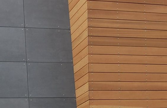 Stained Cedar And Cembonit Cembonit Requires At Least 1 8 Inch Gap The Cedar With Images Modern Siding Modern Siding Panels Cement Panels