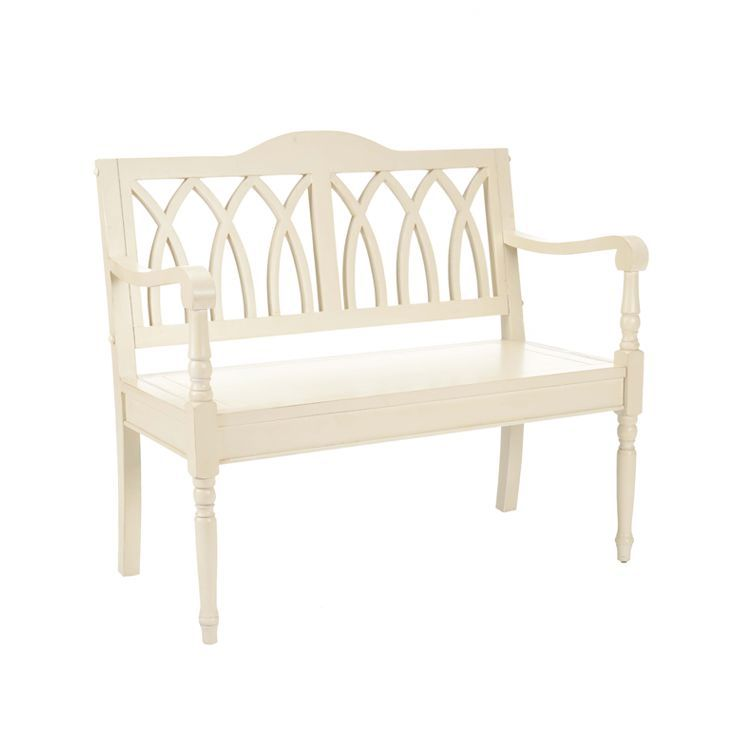 Brilliant Franklin Wood Bench In Distressed White For The Home Machost Co Dining Chair Design Ideas Machostcouk