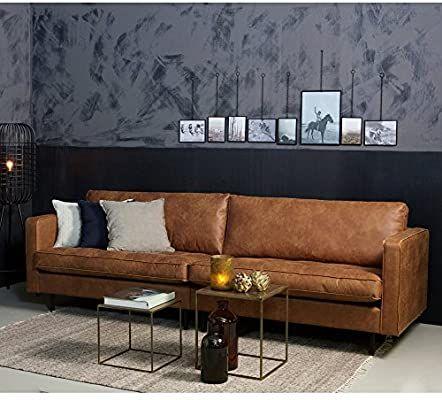 Maison ESTO 3 Sitzer Sofa Rodeo Classic Echtleder Leder Lounge Couch Ledersofa Cognac