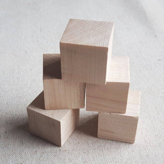 5 Pcs 25mm 1 Inch Wooden Blocks Unfinished Wood Blocks Natural