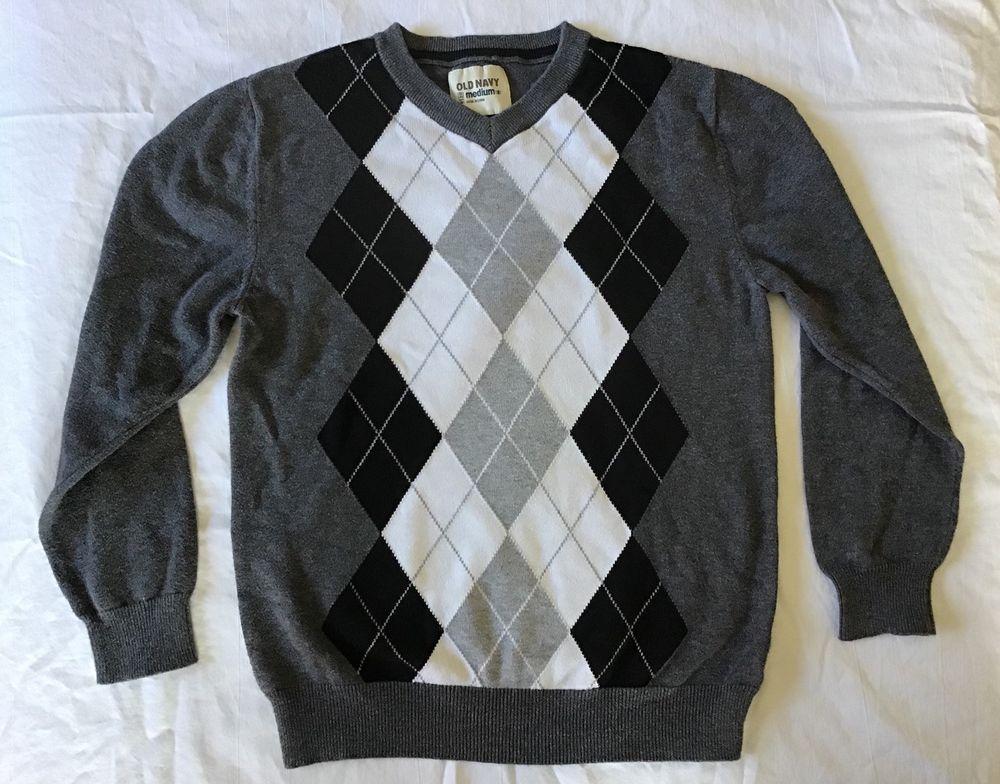 Old Navy Boys Argyle Long Sleeve Sweater Size 8 Grey Gray White