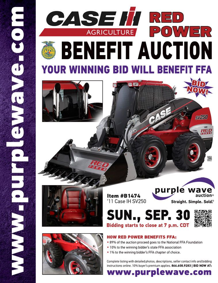 Case IH RED POWER Skid Steer Benefit Auction  September 30, 2012  http://purplewave.co/120930