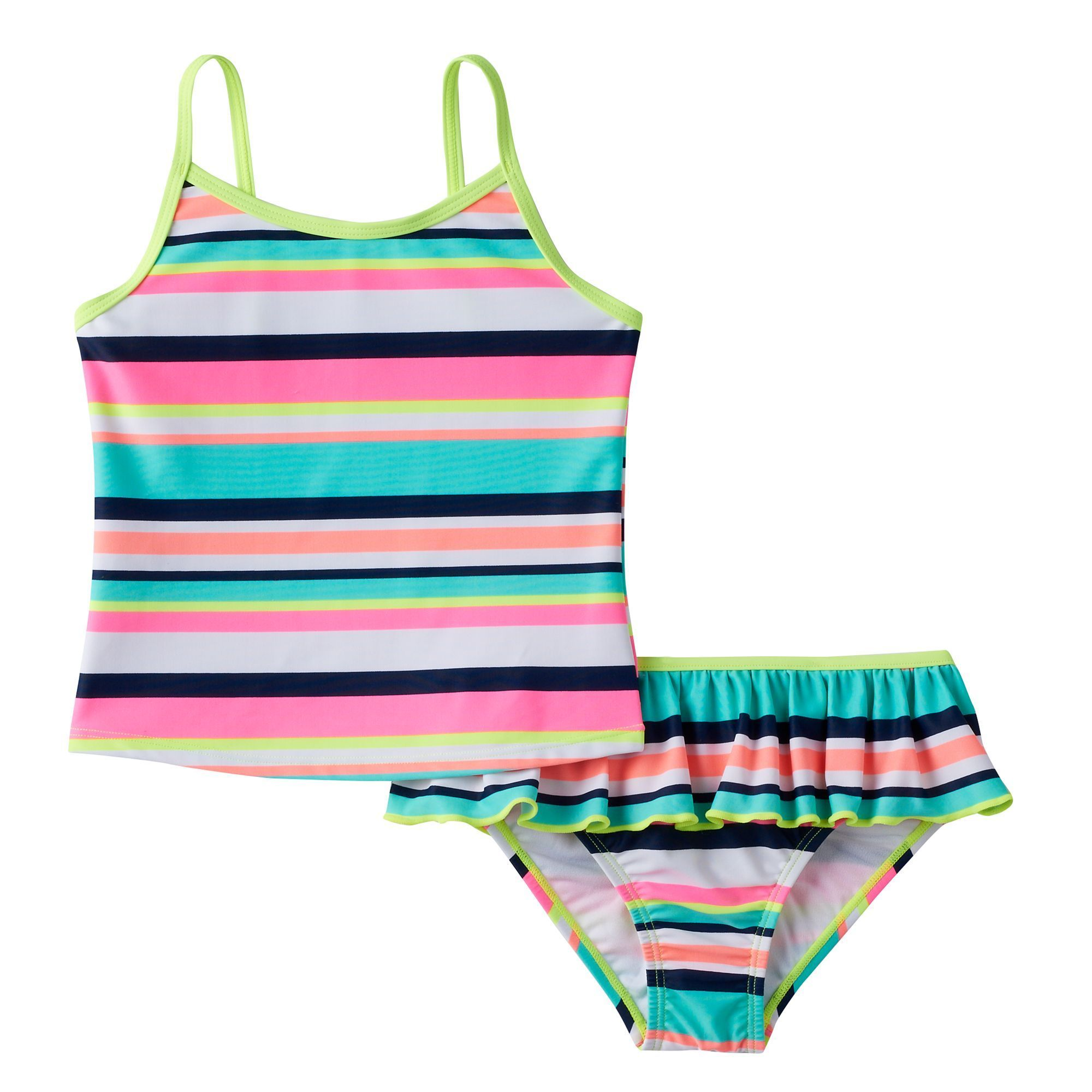 7549e3ccf9 Baby Girl Carter's Striped Tankini Top & Ruffled Bottoms Swimsuit Set,  Size: 12 Months, Brt Green