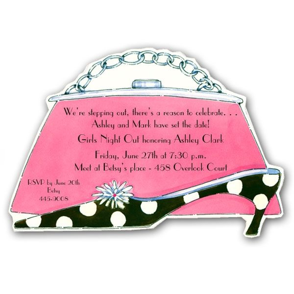 purse heels and jewelery clipart – Shoe Party Invitations