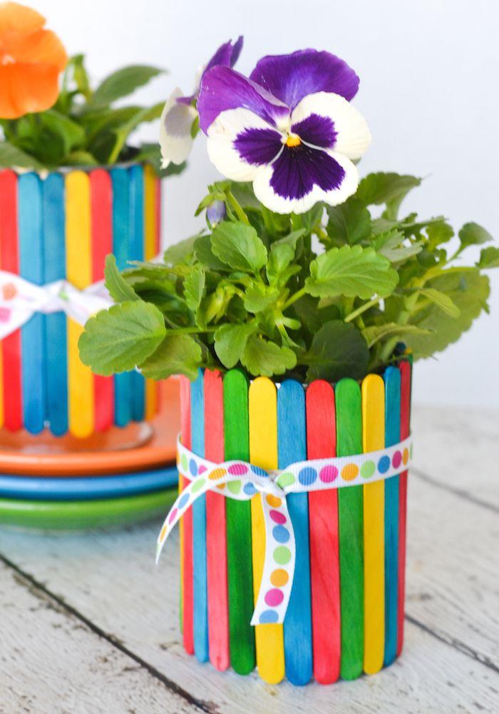 Popsicle Stick Flower Pots | DIY gifts | Craft stick ...