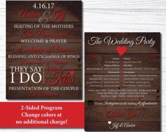 wedding program 2 sided rustic chic wedding program paper fan