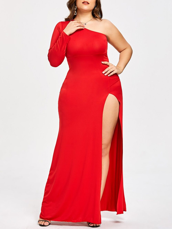 Plus size one shoulder high slit formal dress birthday dresses