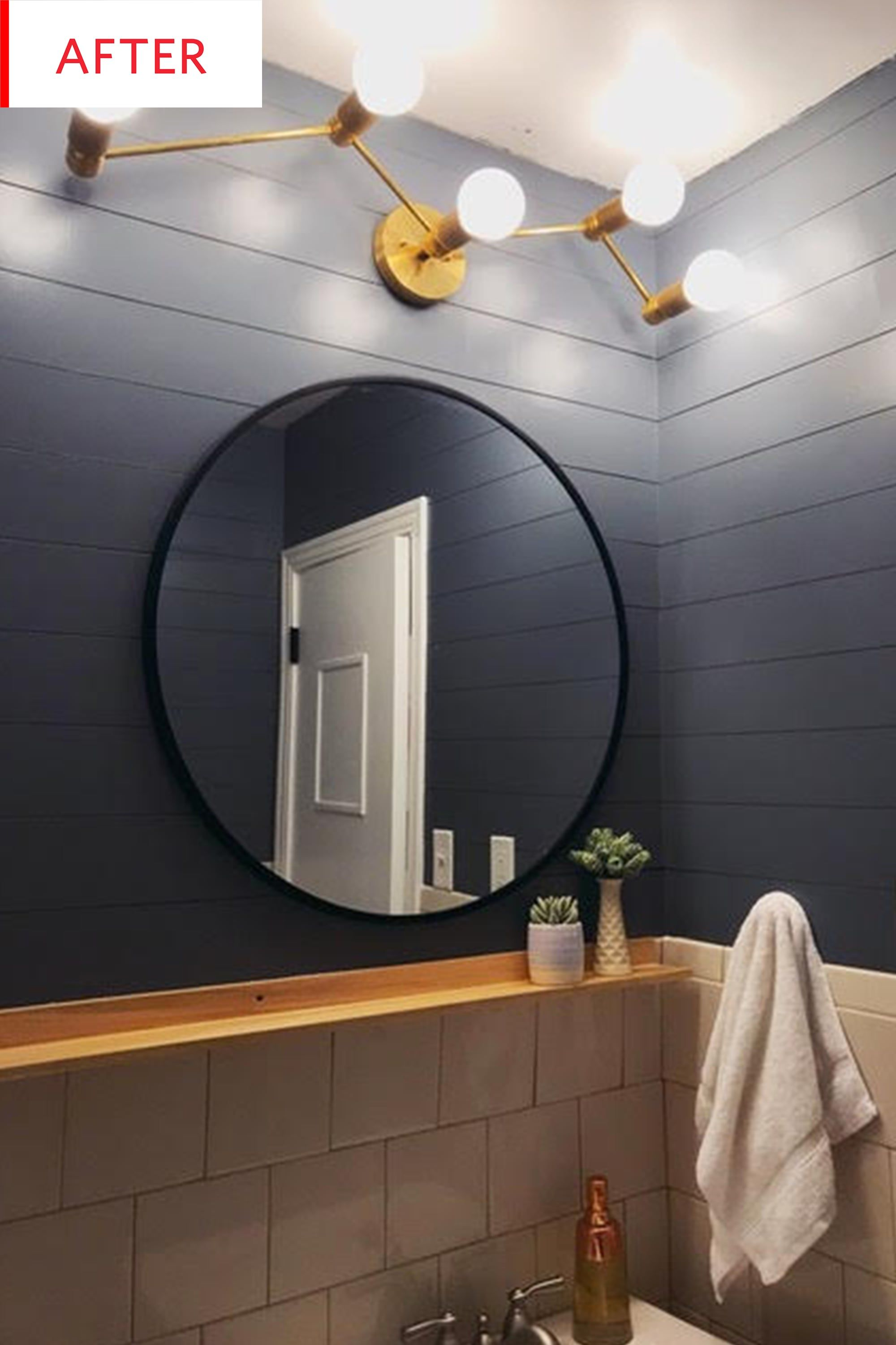 Before And After This Bathroom Just Got A Mind Bending Paint Job Apartment Room Cool Apartments Yellow Walls