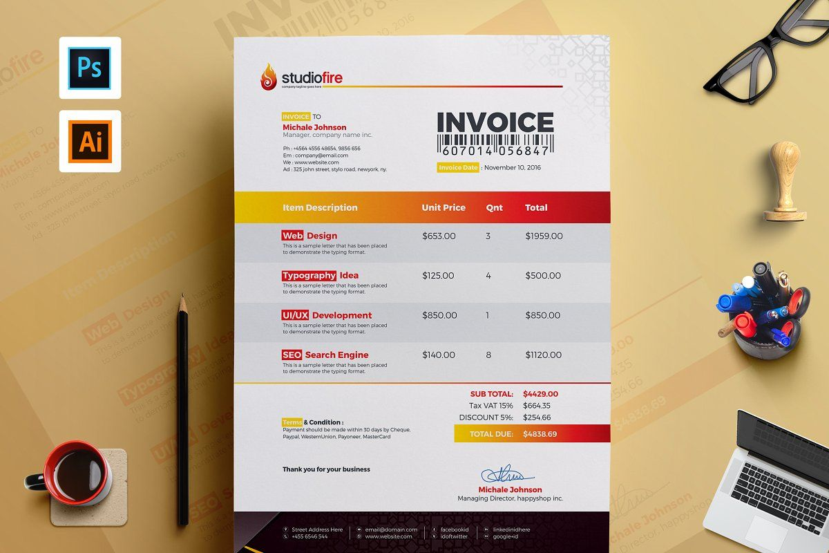 Clean Invoice Template Invoice Template Invoice Design Template Photography Invoice