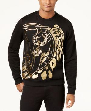 401152a2 Versace Men's Gold Foil Graphic-Print Sweatshirt - Black/Gold XL Versace  Jeans T