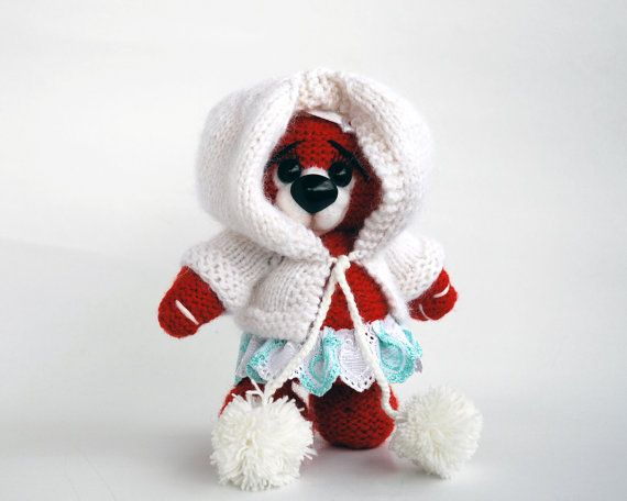 Amigurumi Bear Nose : Winter cherry teddy bear with felted nose knitting pattern