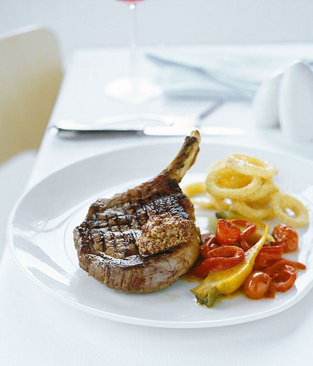 Rib-eye steak with cornmeal onion rings and charred tomato salad :: Gourmet Traveller Magazine Mobile
