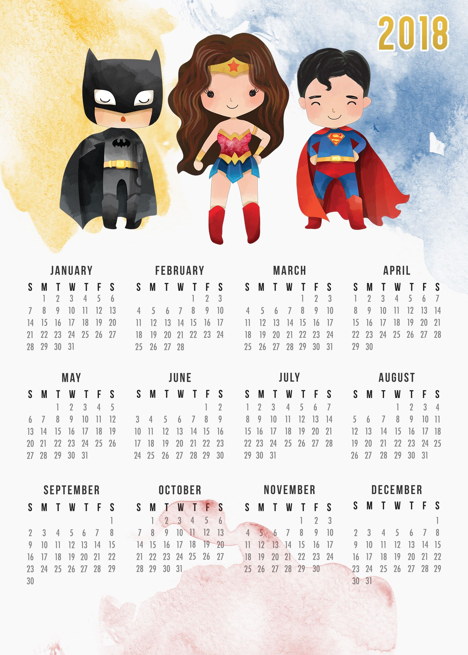 this free printable 2018 justice league calendar is just waiting to be printed it features batman wonder woman and superman enjoy your super heros